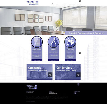The Corporate ID Agency designed an 8 page website for Tanah Blinds using their corporate Sonic Blind Cleaning purple colours.